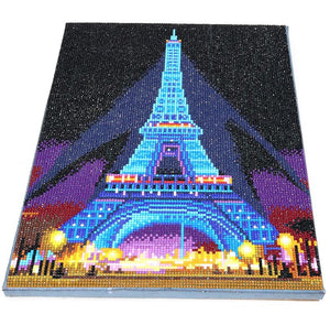 Homfun Led Light Full Round Drill 5d Diy Diamond Painting Eiffel Tower 3d - coolelectronicstore.com