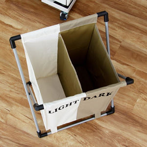 Orz Fashional Laundry Basket Foldable Thick Oxford Formwork Two Grid Storage New - coolelectronicstore.com