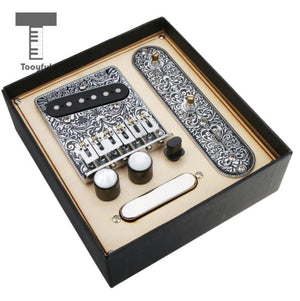 Tooful 1 Set Loaded Prewired Control Plate Bridge Neck Bridge Pickups Assembly - coolelectronicstore.com