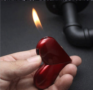 Creative Personality Folding Rotary Heart-shaped Gas Flame Lighter Cigarette Lighter Smoking Accessory Gift For Women - coolelectronicstore.com