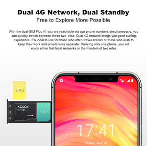 XGODY Dual 4G Sim Smartphone Fluo N Face ID 5.7 Inch 19:9 Notch Screen Android 8.1 Mobile Phone 3GB+32GB Quad Core 8MP Camera - coolelectronicstore.com