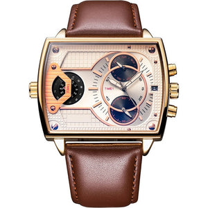 6.11 Mens New Fashion Genuine Leather Band Two Time Zone Waterproof Colors Glass Quartz Watch Men Sport Watch relogio masculino - coolelectronicstore.com