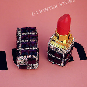 Luxury Crystal Diamond Lipstick Cigarette Lighter Refillable Butane Gas Lighter Cute Jet Cigarette Lighter Smoker Best Gifts - coolelectronicstore.com