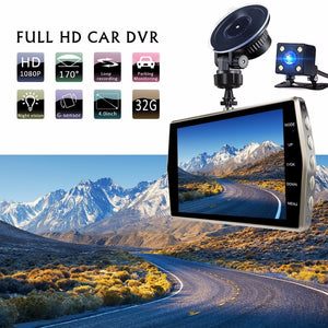 "Dash Cam Dual Lens Car DVR Vehicle Camera Full HD 1080P 4"" IPS Front+Rear Night Vision Video Recorder G-sensor Parking Monitor - coolelectronicstore.com"