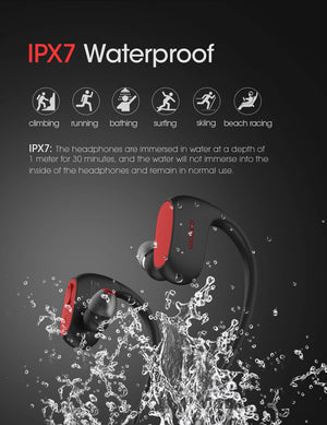 Bluetooth Headphones Bass IPX7 Waterproof Wireless Earphone Sports Bluetooth Headset with Mic for iPhone Xiaomi Huawei - coolelectronicstore.com