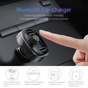 Baseus Car Charger FM Transmitter Aux Modulator Bluetooth Handsfree Car Audio MP3 Player 3.4A Fast Dual USB Mobile Phone Charger - coolelectronicstore.com