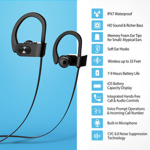 Bluetooth Headphone IPX7 Waterproof Sport Running Wireless Headset Sports Earphones Earbuds With Mic for iPhone - coolelectronicstore.com