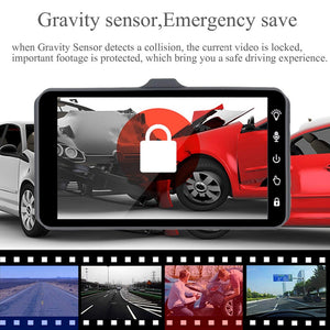 "Dash Cam Dual Lens Full HD 1080P 4"" IPS Car DVR Vehicle Camera Front+Rear Night Vision Video Recorder G-sensor Parking Mode WDR - coolelectronicstore.com"