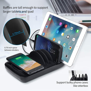 fast charger Multi port charging station with wireless and 3 pcs cables for iPhone Samsung Huawei Xiaomi - coolelectronicstore.com