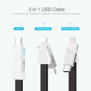3 in 1 USB Cable Micro USB Type C Cable For Lightning Cable For iPhone Samsung 2A Mini Keychain Charger Charging Cables - coolelectronicstore.com