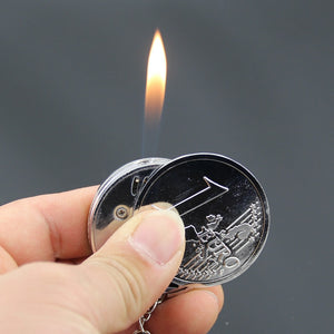 Creative Compact Butane Lighter Gas Lighter Inflated Gas Jet Pendant Coin Bar One Dollar Metal Gift Keychain Key Chain - coolelectronicstore.com