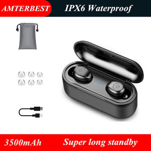 Mini 5D Stereo Sound Wireless Bluetooth Earphone IPX7 Waterproof Sport Earbuds with 3500mA Power Bank Charger Box - coolelectronicstore.com