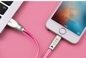 USB Cable for Apple 2.4A Fast Data Charging Cable Zinc Alloy Jelly Knitted Sync Charger for iPhone 6 7 plus 8 X Xs Max XR - coolelectronicstore.com