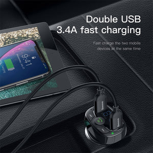 ROCK 5V 3.4A Metal Dual USB Car Charger Digital Display For iPhone  Car Kit LCD MP3 Player Dual USB Car Phone Charger - coolelectronicstore.com