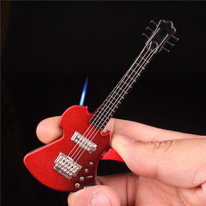 Mini Creative Butane Lighter Cute Guitar Model Windproof Fire Starter Keychain Ring Collection Valentine New Year Gift Decor - coolelectronicstore.com