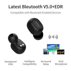 QCY QS1 T1C Mini Dual V5.0 Wireless Earphones Bluetooth Earphones 3D Stereo Sound Earbuds with Dual Microphone and Charging box - coolelectronicstore.com