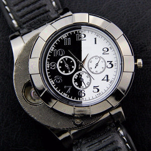 Military USB Charging sports Lighter Watch Men's Casual Quartz Wristwatches with Windproof Flameless Cigarette Lighter - coolelectronicstore.com