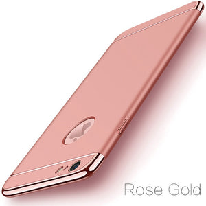 Luxury Gold Hard Case for iPhone 7 6 6s 5 5s SE X Back Cover Xs Max XR Removable 3 in 1 Fundas Case for iPhone 8 7 6 6s Plus Bag - coolelectronicstore.com