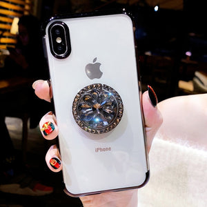 Phone Cases For iPhone XR XS MAX X 8 7 6 6S Plus Transparent Soft TPU Bling Diamond Finger Ring Holder Cases Cover For iPhone XR - coolelectronicstore.com