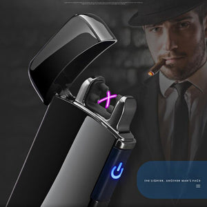 Touch Induction Power Charge Display USB Double Arc Plasma Eletronic Pulse Lighter Metal Windproof Gadgets for Men Lighters - coolelectronicstore.com