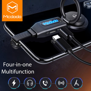 MCDODO 4in1 LED Light Audio Adapter Finger Ring Holder Earphone OTG Converter Mobile Phone Cable Charge For iPhone XS MAX 7 Plus - coolelectronicstore.com