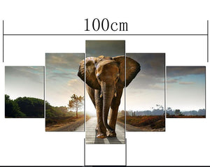 5pcs 5d Diy Diamond Painting Elephant Embroidery Full Square Diamond Cross - coolelectronicstore.com
