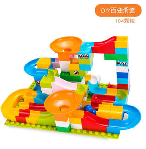 104pcs Marble Race Run Maze Ball Track Building Blocks Plastic Funnel Slide Big - coolelectronicstore.com