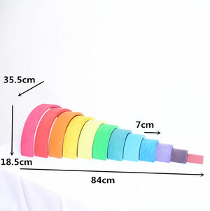 Baby Toys 12pcs Rainbow Blocks Wooden Toys for Kids Large 84*35*18cm Creative - coolelectronicstore.com