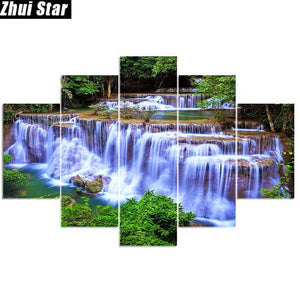 Zhui Star 5d Diy Full Square Diamond Painting Forest Waterfall Multi Picture - coolelectronicstore.com