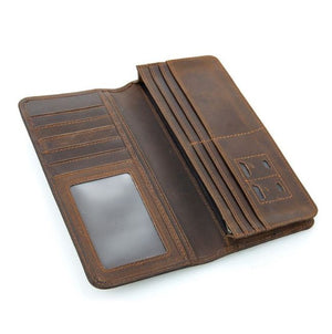 Vintage Cowhide Leather Long Card Wallet Genuine Leather New - coolelectronicstore.com