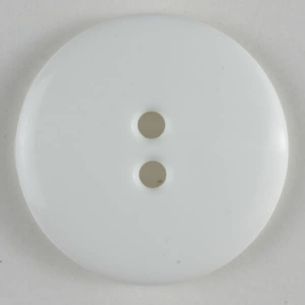 Dill - Glossy White Two Hole Button - 14mm