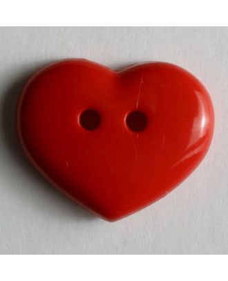 Dill - Red Two Hole Heart Button - 15mm