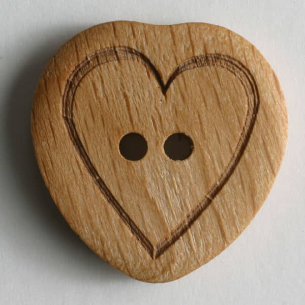 Dill -  Brown Wooden Two Hole Heart Button - 15mm