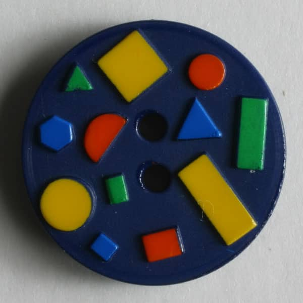 Dill - Blue With Colored Blocks Button - 18mm