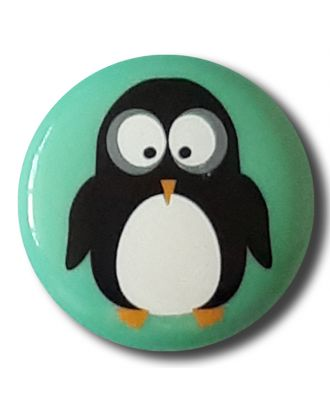Dill - Penguin on Mint Shank Button - 15mm