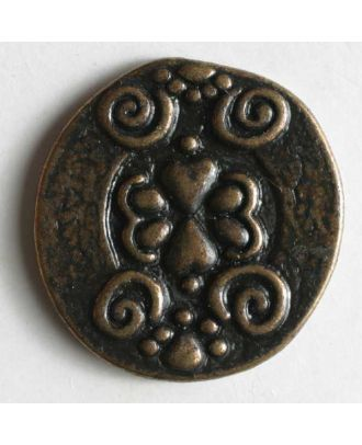 Dill - Center Scroll Antique Brass Button - 18mm