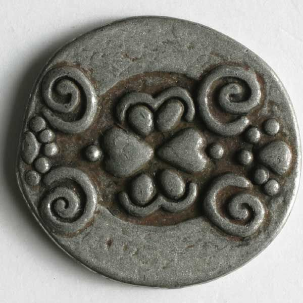 Dill - Round Scroll Metal Button - Pewter - 18mm