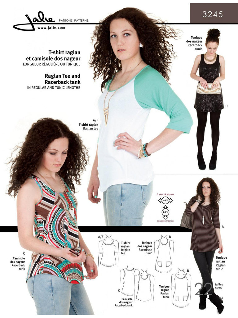 Jalie - Raglan Top, Raceback Tank and Tunic - 3245