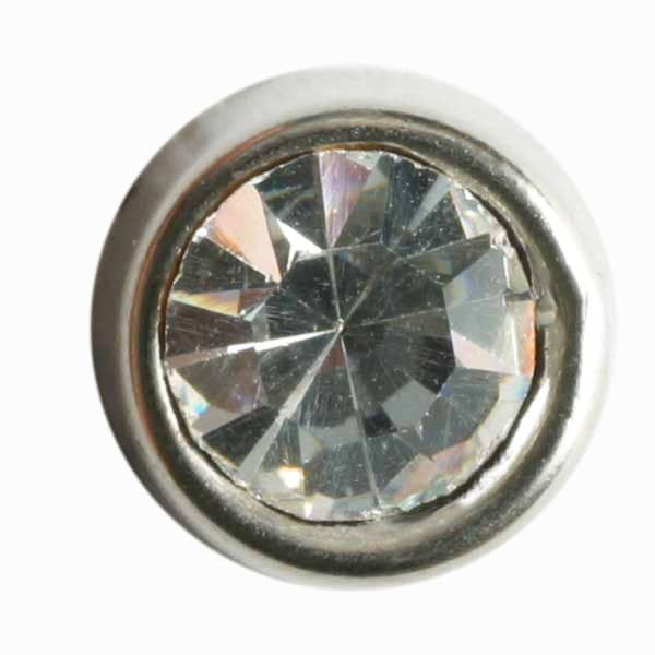 Dill - Silver Rhinestone Shank Button - 10mm