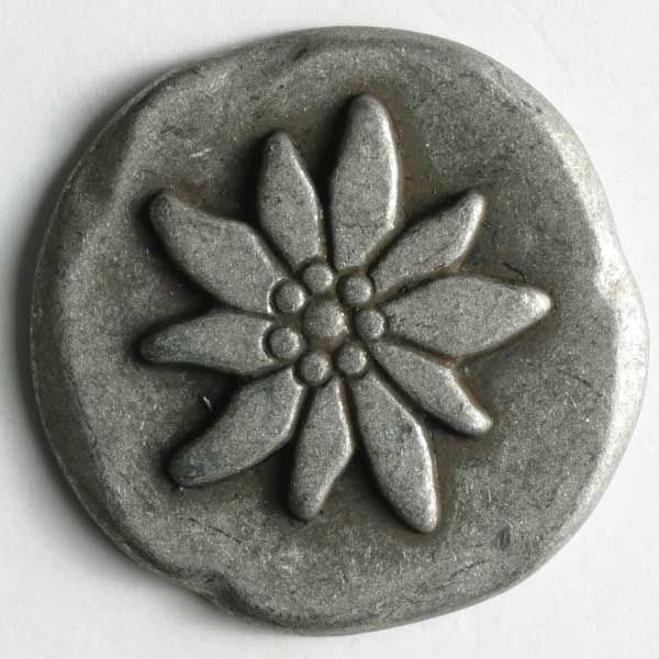 Dill - Edelweiss Flower Metal Button - 25mm