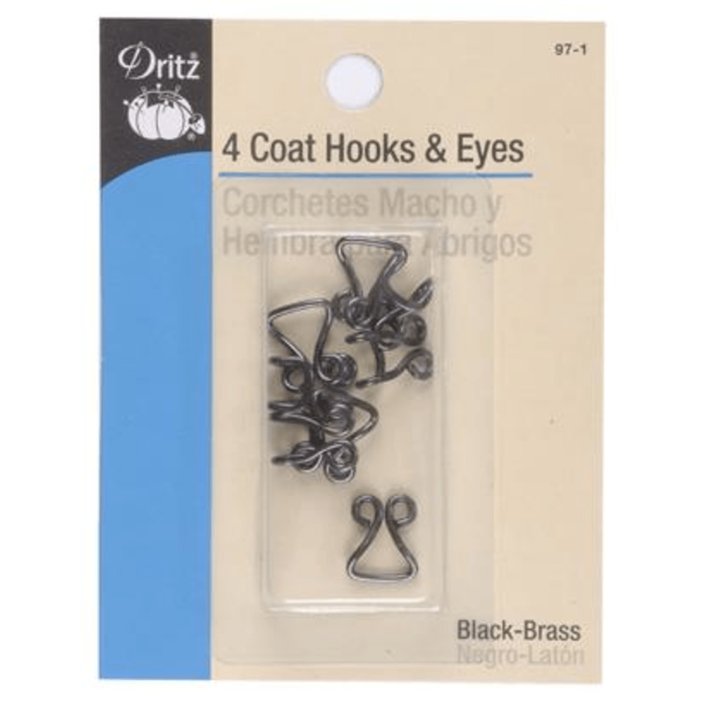 Dritz - Coat Hooks and Eyes - 4 pack - Black/Brass