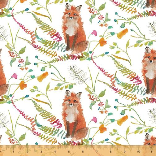 Windham - Foxwood Canvas - Foxes on White