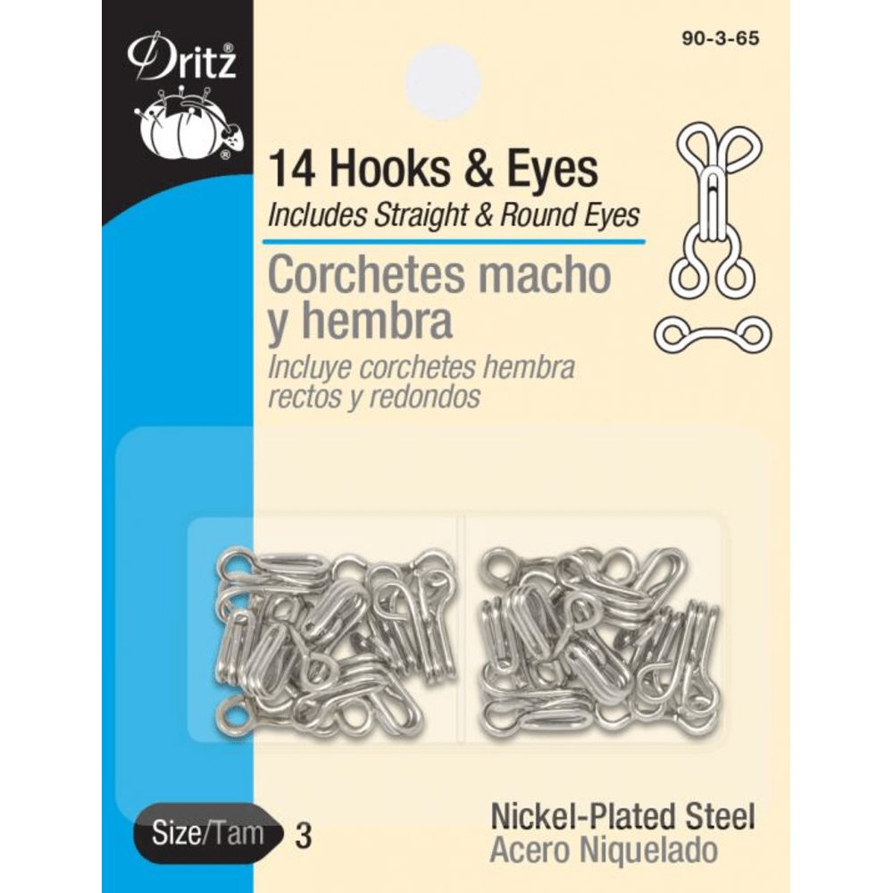 Dritz - Hooks and Eyes - 14 ct. - Various