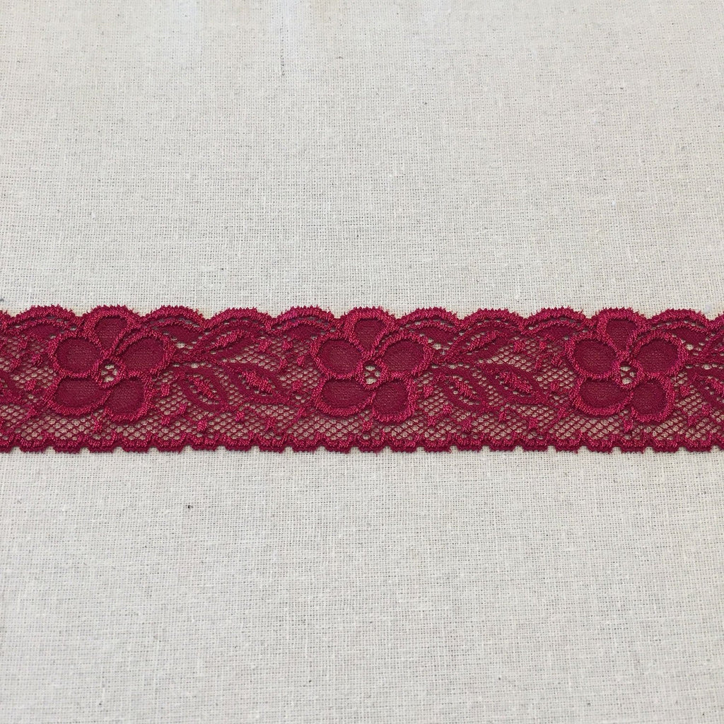 "1-3/4"" Red Hibiscus Galloon Stretch Lace"