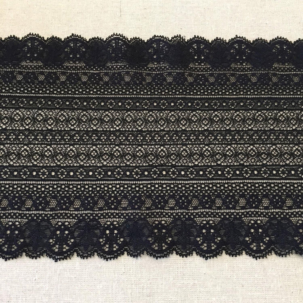 "6"" Black Guipure Striped Stretch Lace"