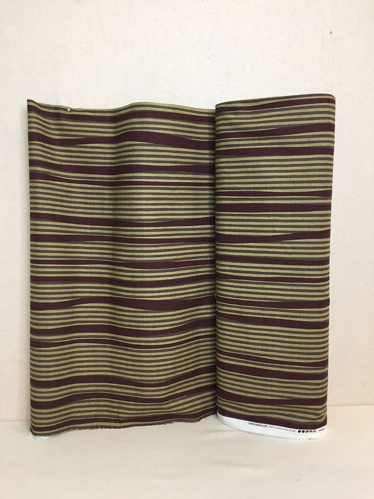 Uneven Stripe Dobby - Brown with Gold Stripes