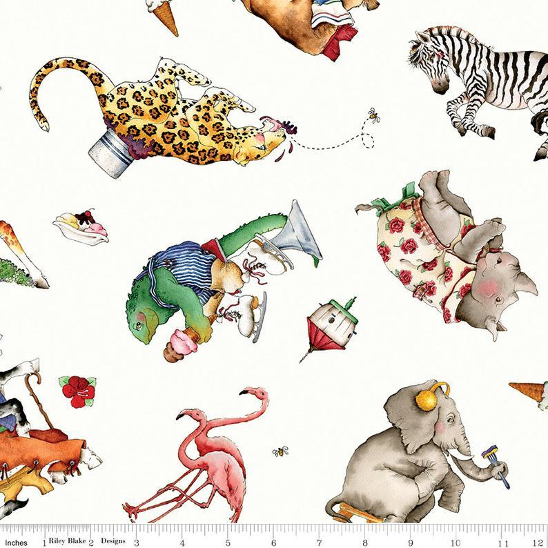 Riley Blake - Hungry Animal Alphabet - Toss - Off White