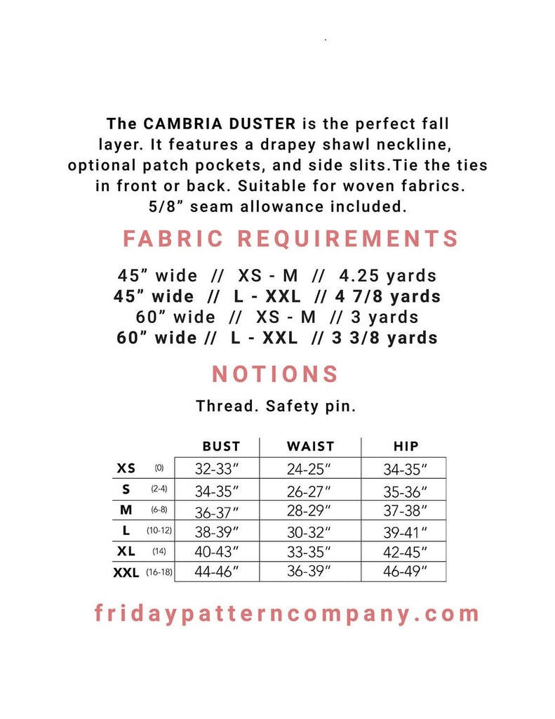 Friday Pattern Company - Cambria Duster