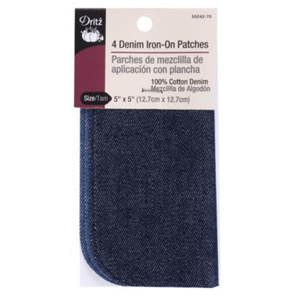 "Dritz - Denim Iron-On Patches - 5"" x 5"" - 4 pc."