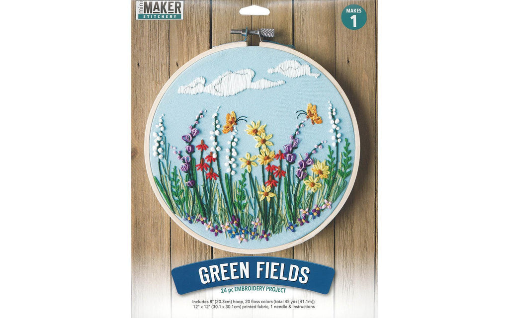 Leisure Arts - Embroidery Kit - Green Fields - 8""